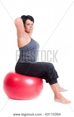 fat woman with big red ball