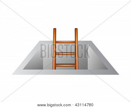 Wooden ladder leading from underground