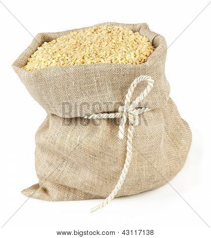 Sack with tie of sesame seeds
