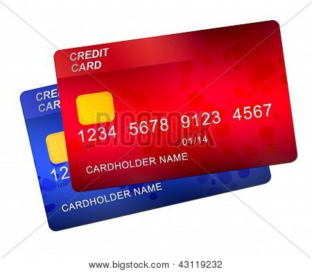red and blue credit cards