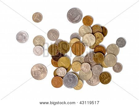 pile of coins scattered