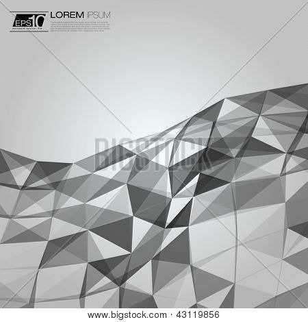 Black and White Abstract Triangles Vector Background | EPS10 Business Layout
