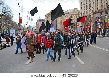 Kiev - Mar 08: Youth Feminist Demonstration On Kreshatik In Kiev, Ukraine On March 08, 2013.