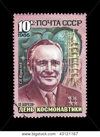 Ussr-circa 1986, Apr 12: Cancelled Stamp Printed In Ussr, Shows Sergei Korolev (1906-1966), Rocket S