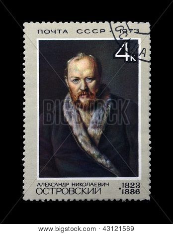 Ussr - Circa 1973: Canceled Stamp Printed In The Ussr, Shows Famous Russian Dramatist Alexander Ostr