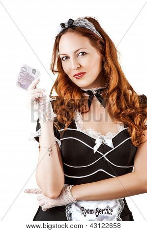 Sexy French Maid  Holding Money