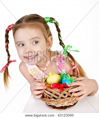 Smiling Little Girl With Basket Full Of Colorful Easter Eggs Isolated