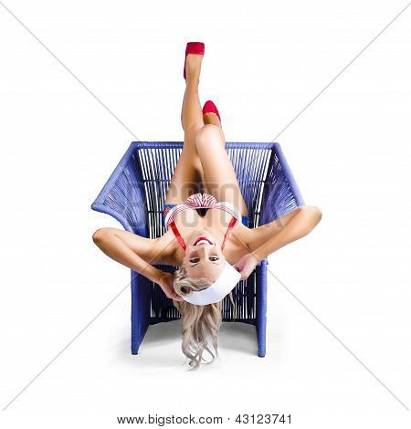 American Pinup Woman Upside Down On Cane Chair