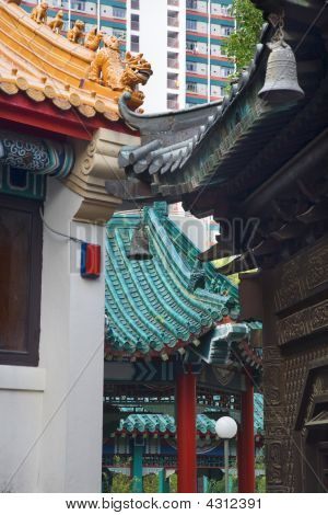 Modern Buildings Ancient Roofs Bells Wong Tai Sin Taoist Temple Kowloon Hong Kong