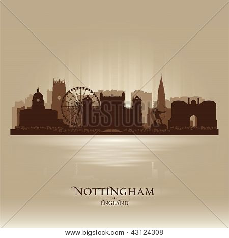 Nottingham England Skyline City Silhouette
