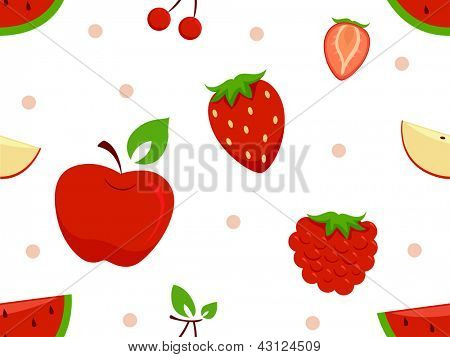 Background Illustration of Different Red Fruits