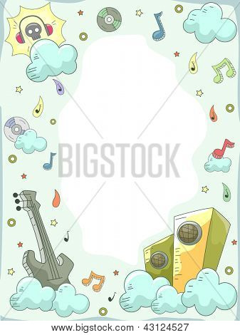 Background Illustration of Music Elements Doodle Design