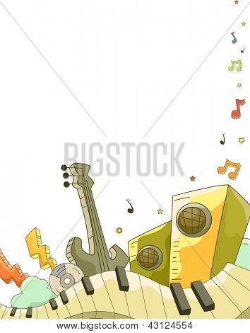 Illustration of Background Illustration of Music Elements Doodle Design