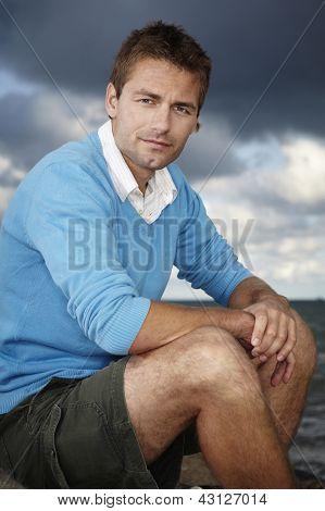 Posing on beach