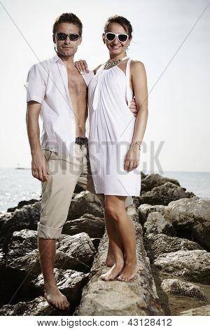 Schönheit couple im Urlaub in Italien