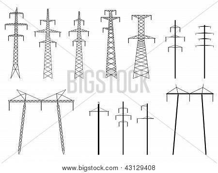 矢量剪影铁塔输电线路的一组