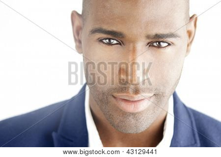 Highly detailed close-up portrait of a young smart successful business man