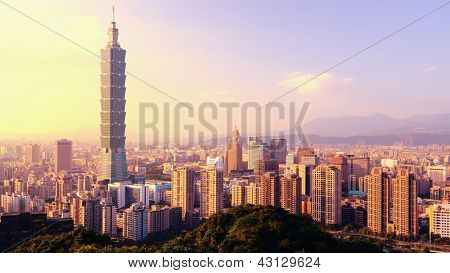 Taipei, Taiwan evening skyline.