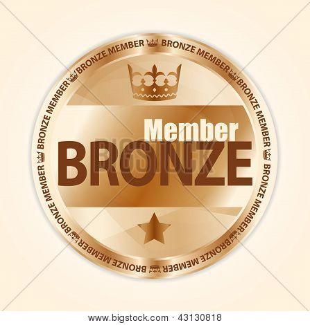 Crachá de membro de bronze com a coroa real e uma estrela