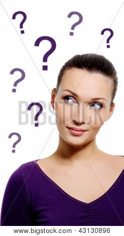 Thinking Woman With Question Sign