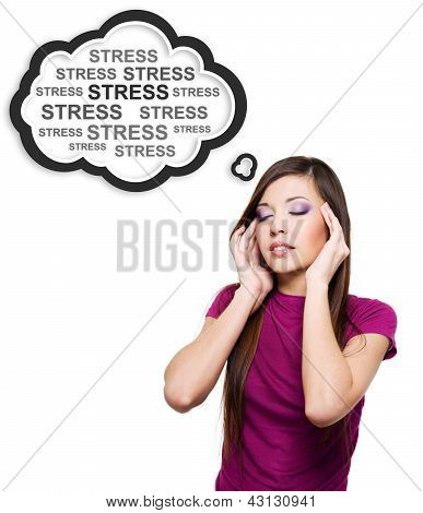 Photo Of Young Woman Having Stress.