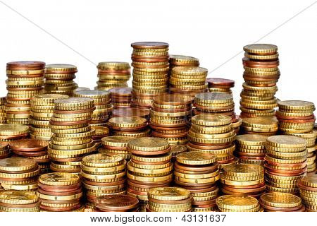 Grupo de fundo dourado de moedas de euro