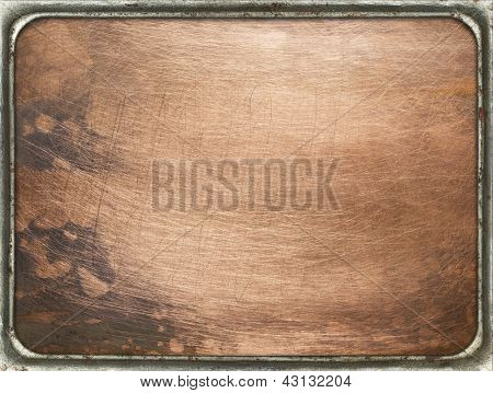 Copper plate texture in a frame. Old metal backgrounds, isolated