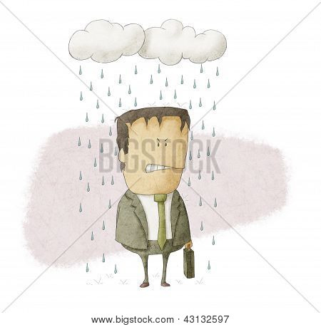 a businessman under rain clouds