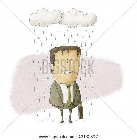 a businessman under rain clouds