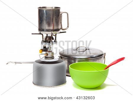 Cooking Tourist Equipment During Camping On White Background