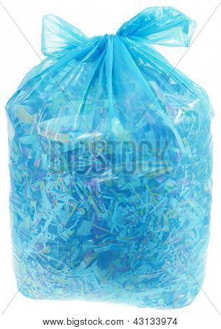 Paper Shreds in Transparent Plastic Bag for Recycling Isolated on White Background