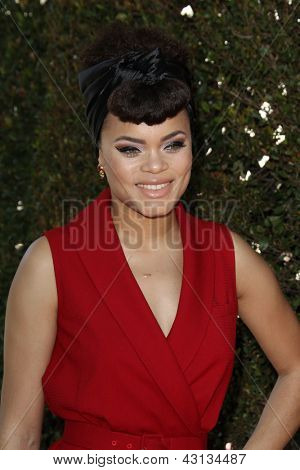 LOS ANGELES - MAR 10:  Andra Day arrives at the  10th Annual John Varvatos Stuart House Benefit at the John Varvatos Boutique on March 10, 2013 in West Hollywood, CA