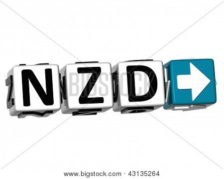 3D New Zeland Dollar Currency Nzd Button Click Here Block Text
