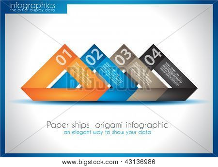 Paper ship origami infographics - An elegant way to show your data and statistics.