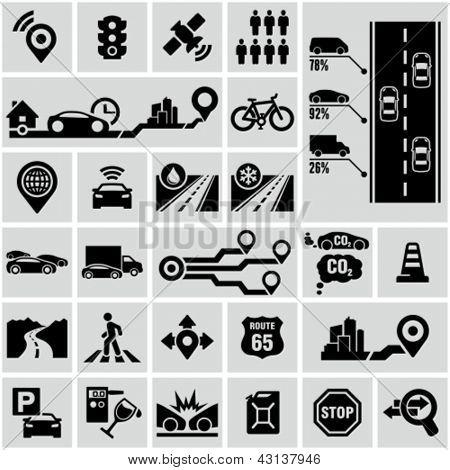 Ícones gráficos da estrada tráfego informação