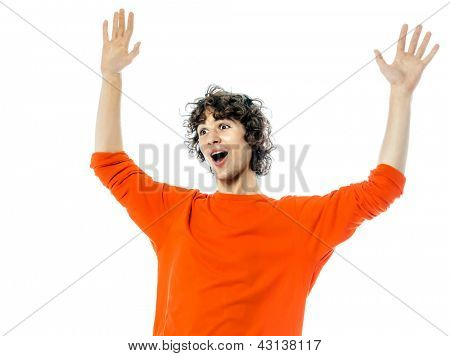 one young man caucasian gesturing surprised happy joy portrait  in studio white background