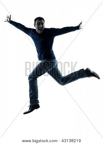 one caucasian man  saluting  full length in silhouette studio isolated on white background
