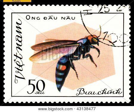 Vintage  Postage Stamp. Insect Ong Dau Nau.