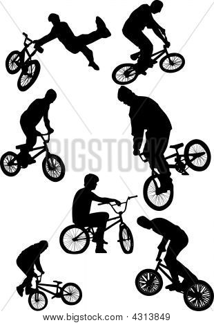 Silhouette Of Bmx Riders On A White Background