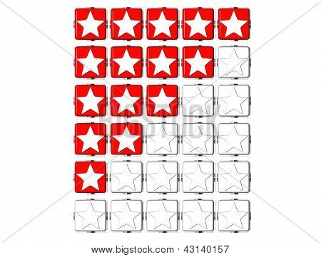 3D Red Stars Rating Button Click Here Block Text