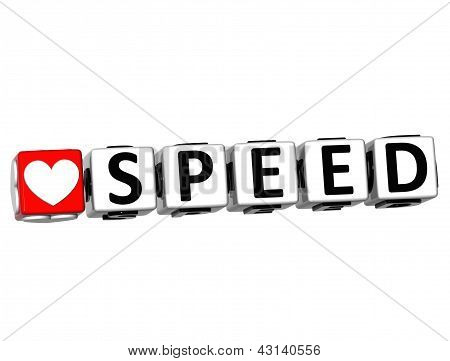3D Love Speed Button Click Here Block Text