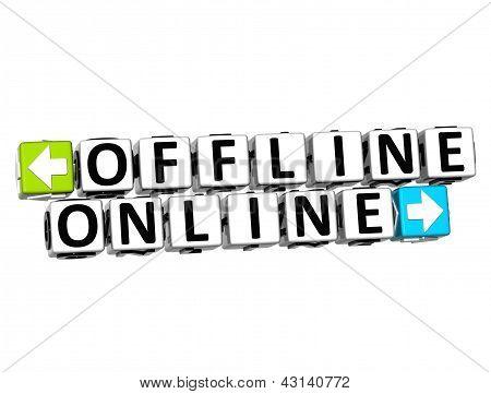 Bloquear o botão on-line off-line 3D clique aqui texto