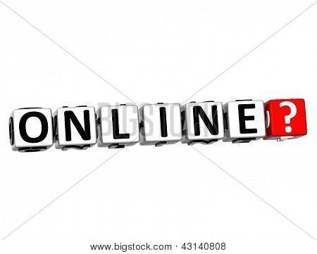 Botão 3D Online clique aqui bloco de texto