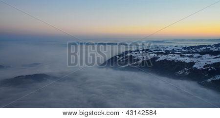 morning fog with sunrise
