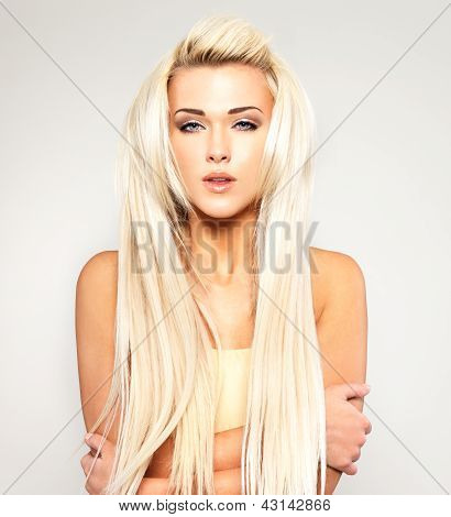 Blond Woman With Long Straight Hair