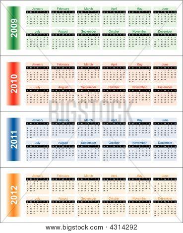 calendar Of 2009-2012 Years.