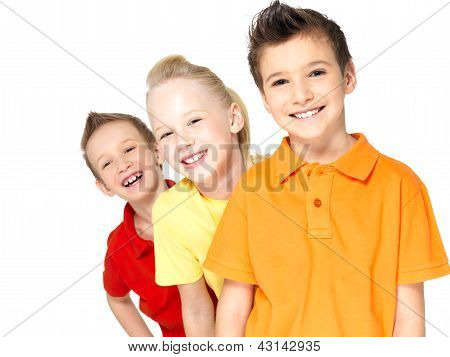 Portrait Of The Happy Children Isolated On White