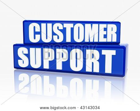 Suporte ao cliente em blocos azuis