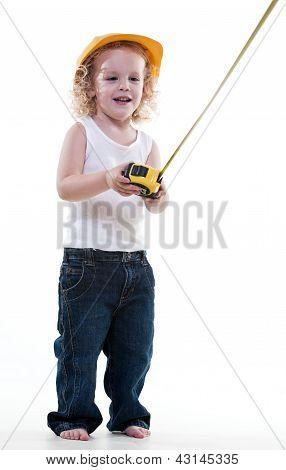Cute Blond Jewish Toddler Boy Playing Pretend