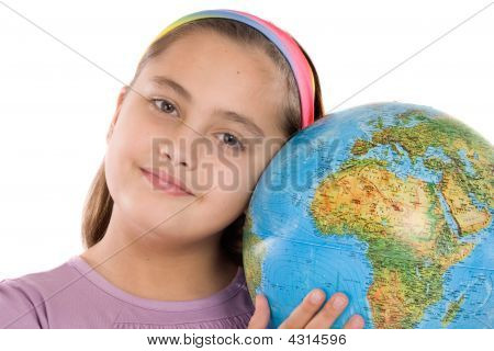 Adorable Girl With A Globe Of The World